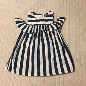 Navy & White Striped Off-the-Shoulder Dress